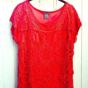 Coral blouse with lace overlay